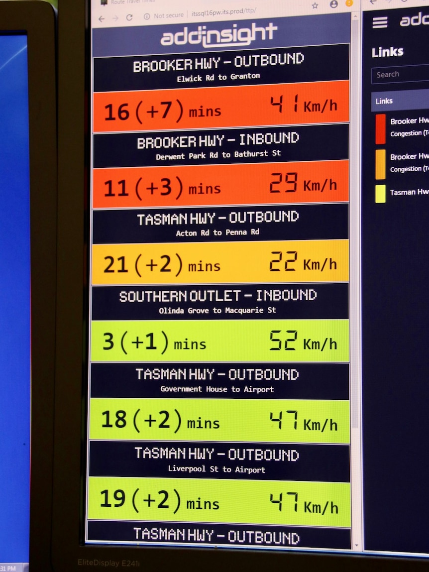 Traffic monitoring data on a computer screen in Hobart