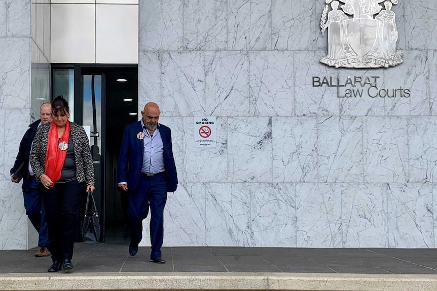 Jack Brownlee's family leave the Ballarat courts after a committal hearing in December.