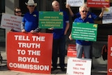 Protesters outside royal commission into child sexual abuse in Adelaide