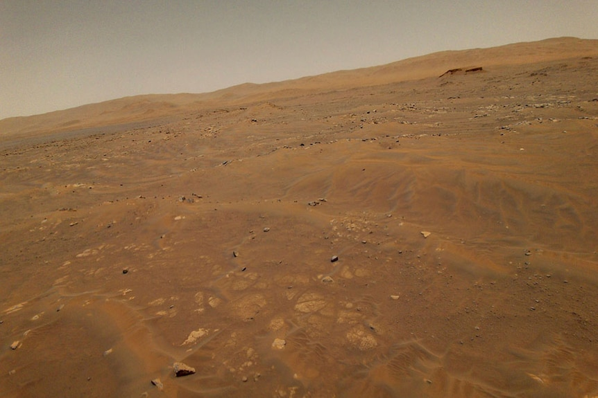 The barren landscape of Mars is shown from above