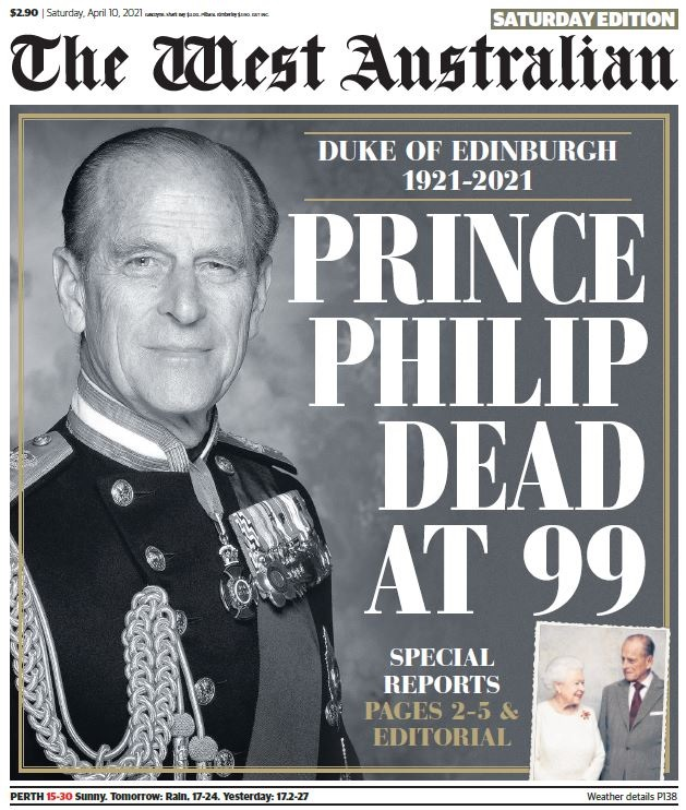 The front page of The West Australian newspaper the day after the death of Prince Philip.