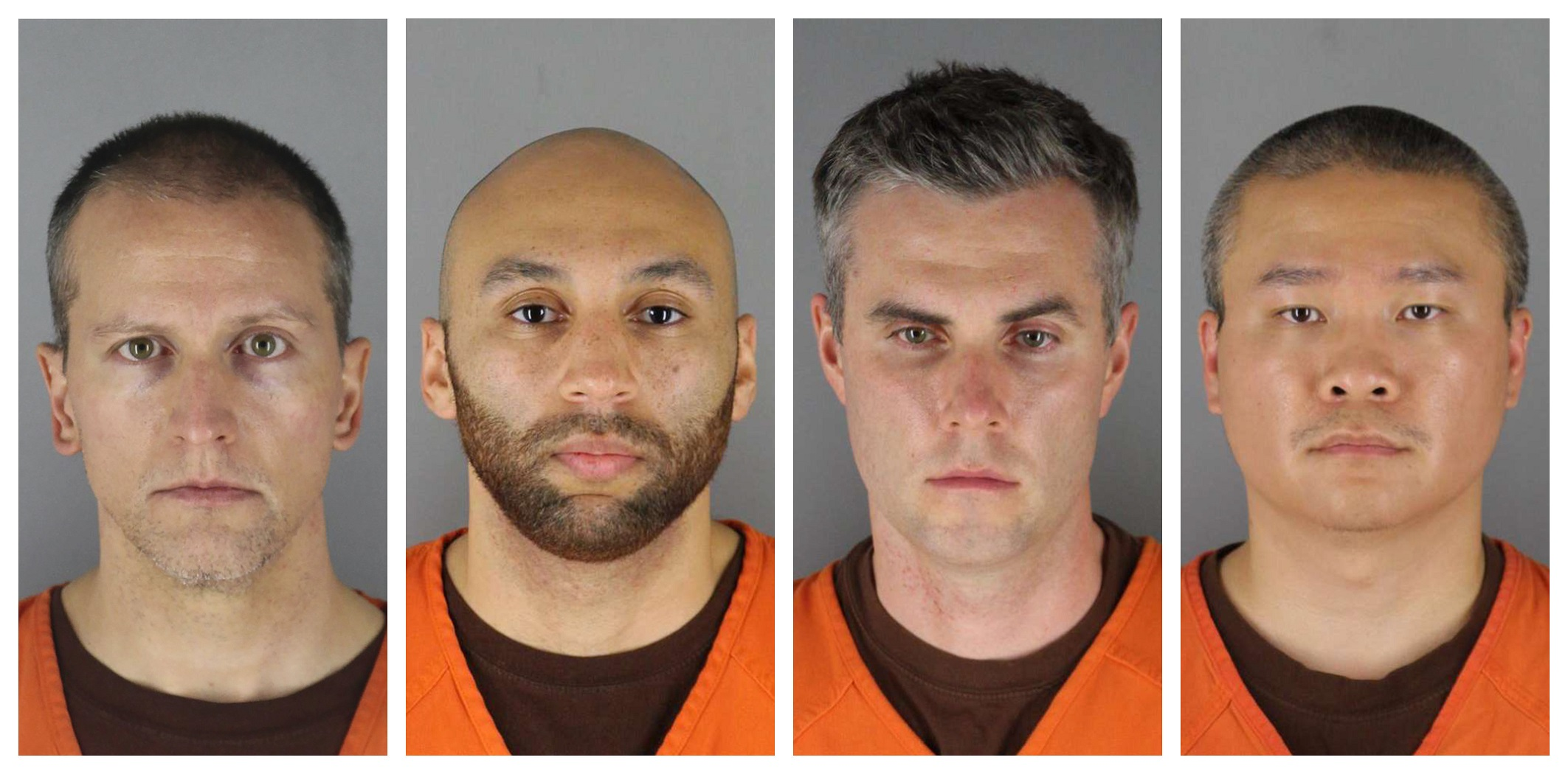 A composite image shows a four mugshots of men wearing the orange uniforms of American detainees.