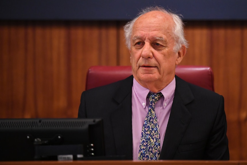 Commissioner Hon. Raymond Finkelstein AO QC is seen during Victoria's royal commission into Crown Casino.
