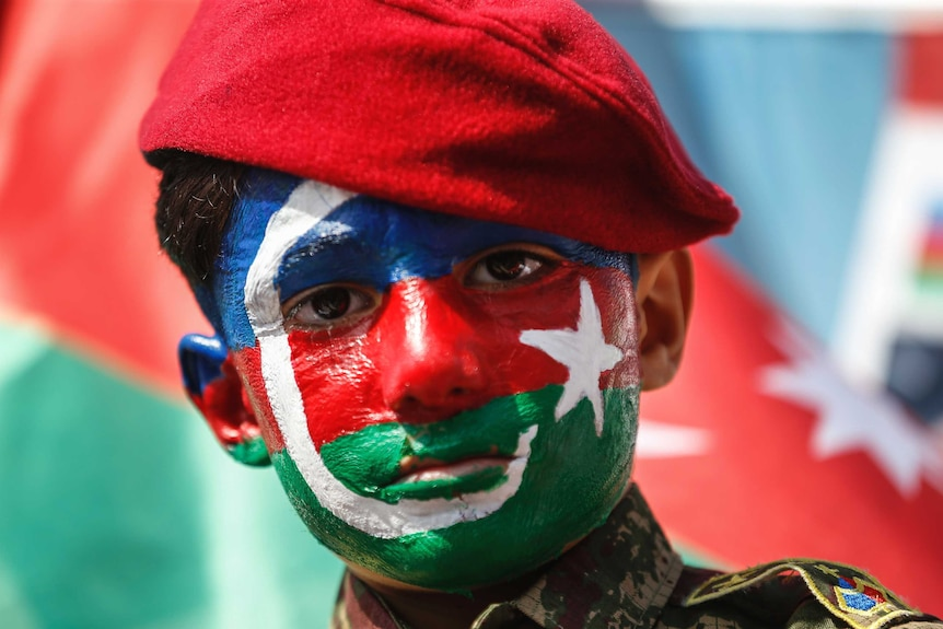 A child, his face covered with the colours of the flag of Azerbaijan participates in a protest in Istanbul.