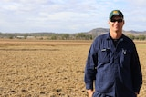 Vegetable farmer Steve Kluck stands in a dry, empty paddock.
