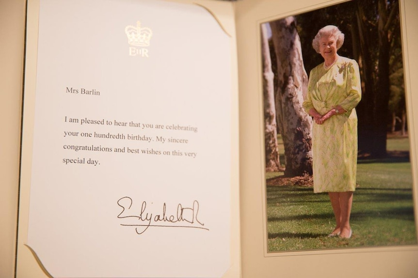 Birthday card from the Queen to Iris Barlin.