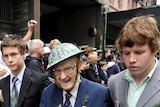 Pat Lee, 90, marches in the Sydney ANZAC Day march