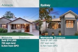 A photo of a Woodville house with details and price along side a photo of a Marrickville house with details and price