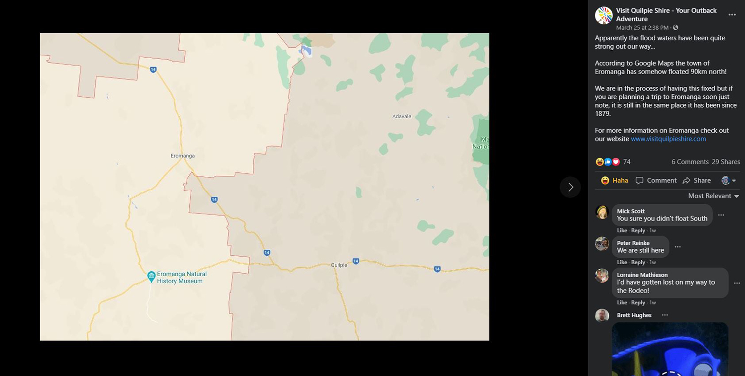 A Facebook post from Visit Quilpie Shire – Your Outback Adventure showing an image from Google Maps