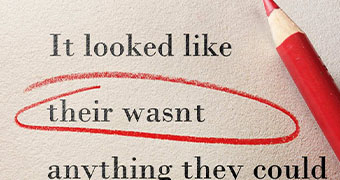 Three lines of phrases next to a red pencil. A red circle is around the incorrect words.