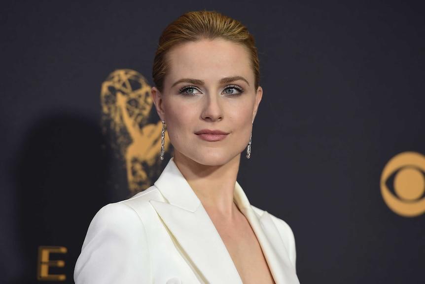 Evan Rachel Wood arrives at the Primetime Emmy Awards, she is wearing a white blazer