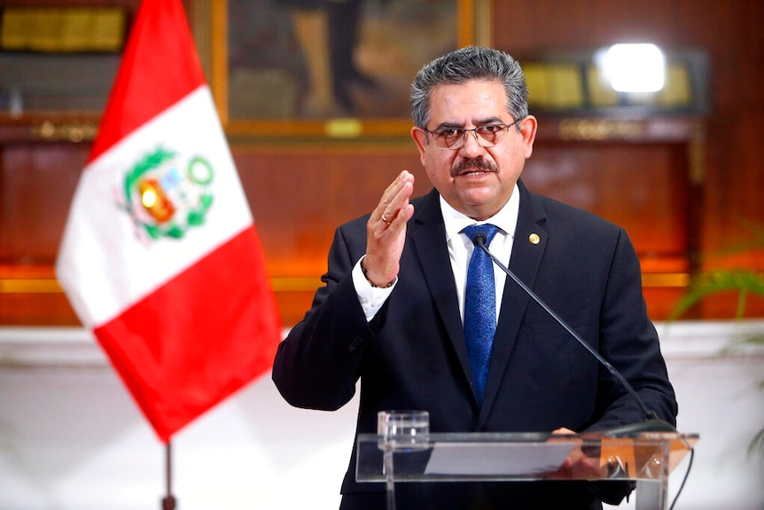 Interim president Manuel Merino announces his resignation via a televised address from the Presidential Palace.