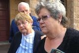 Sisters of murdered grandmother Beverley Ann Quinn talking to reporters outside court building in Perth.