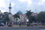 Students outside Malek Fahd Islamic School in Sydney's south-west.
