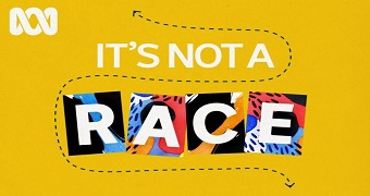 A promotional image for the It's Not A Race podcast.