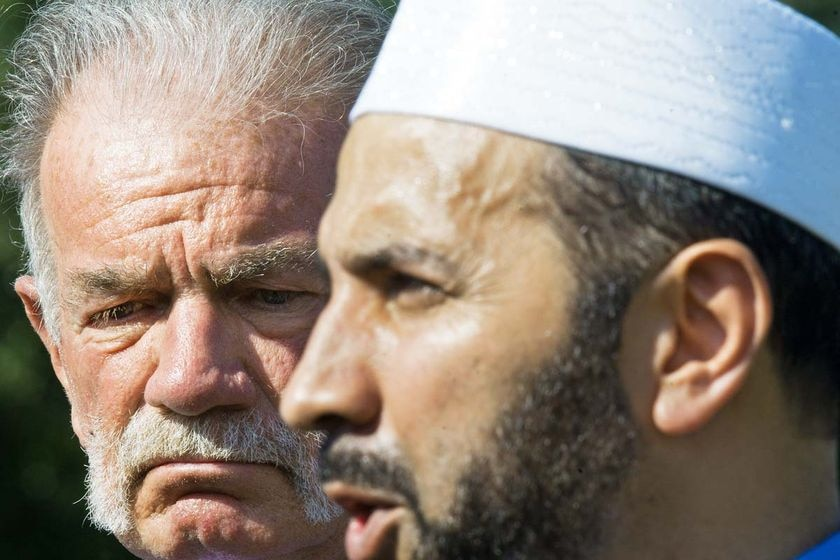 Pastor Terry Jones with Imam Mohammed Musri (right) speaking to the press.