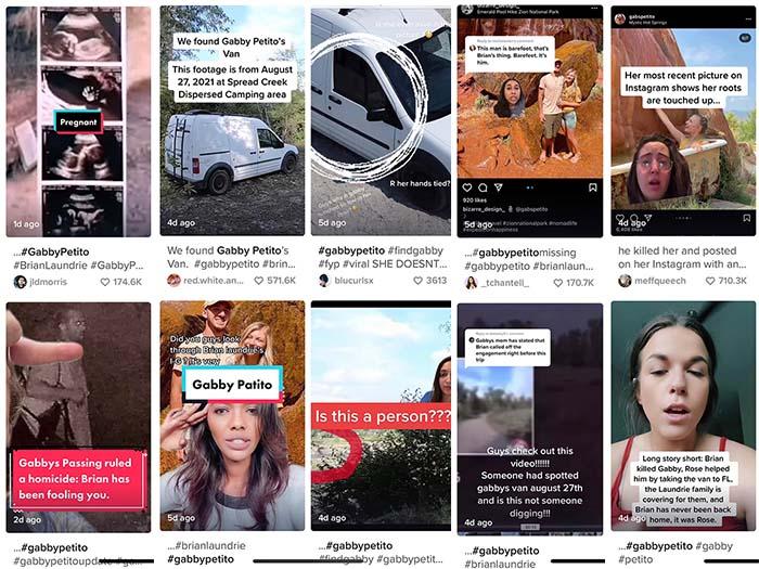 A collage of eight screenshots of Tiktok videos.