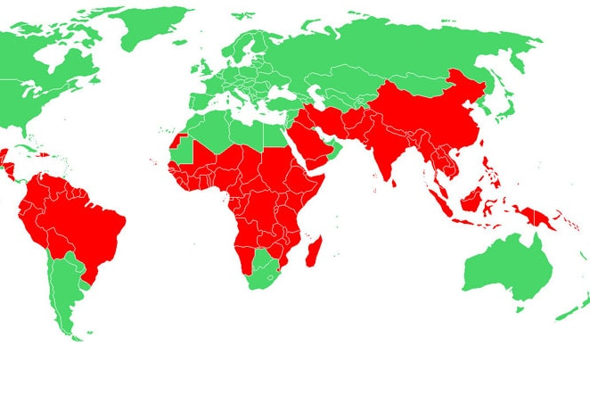 A map showing places where malaria is present.