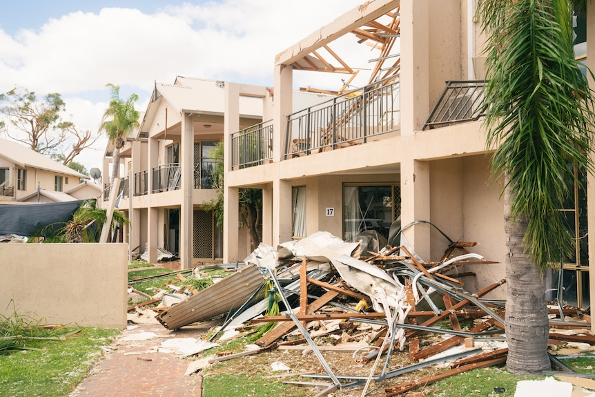 The facade of villas destroyed by a cyclone