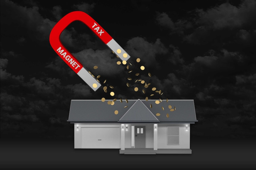 Image of a tax magnet pulling dollar coins from a house underneath.