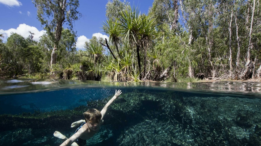 A young boy swims in a creek in Western Australia