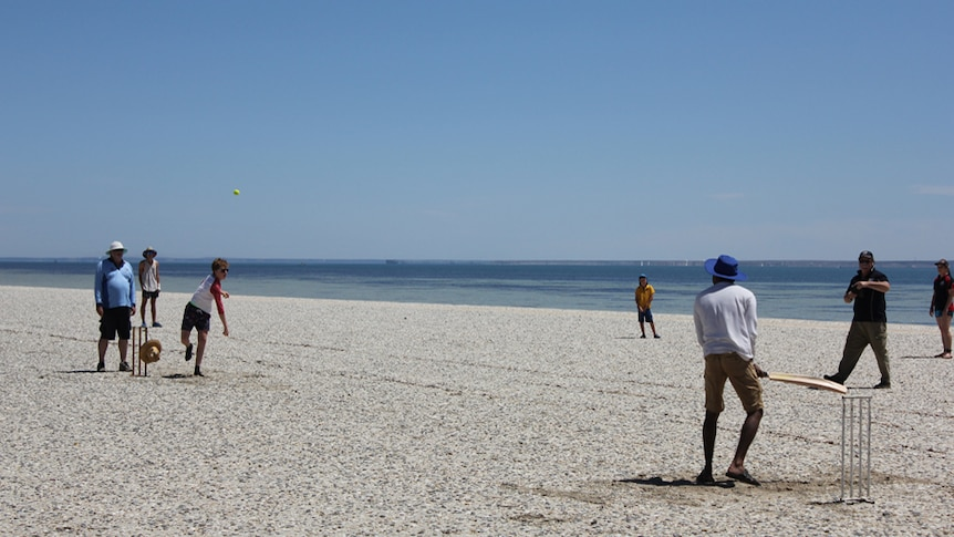 A group of people playing cricket on the beach.