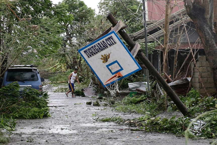 A resident walks beside toppled trees and a basketball hoop