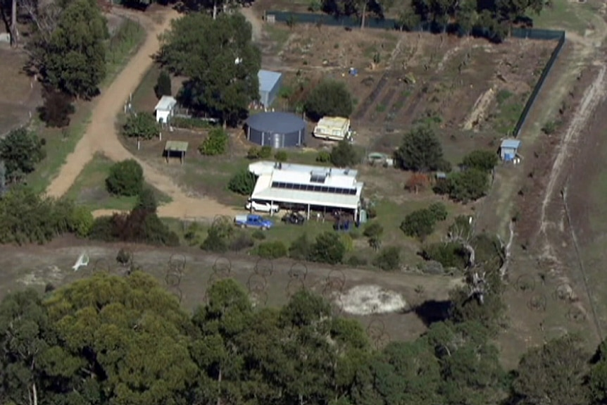 An aerial photo of the house where seven people were killed in a mass shooting in Margaret River.
