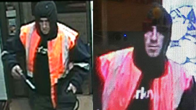 Robber in high visibility vest