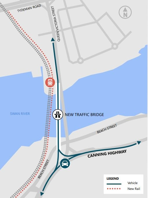 A map showing theplanned alignment of the new Fremantle traffic and rail bridges.