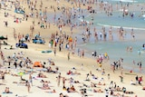 Beachgoers flock to Bondi Beach, Sydney.