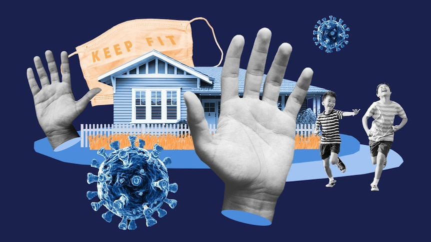 A collage includes a Queenslander house, children running, hands, a face mask with the words KEEP FIT, and COVID icons