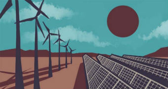A graphic showing wind power generators and solar panels