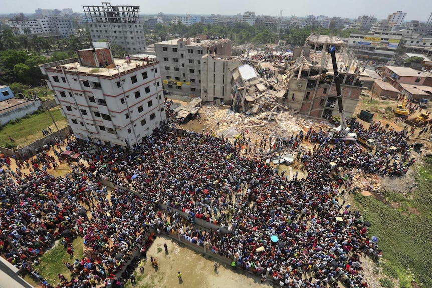 Rescue workers at the collapsed Bangladesh garment factory in April this year.