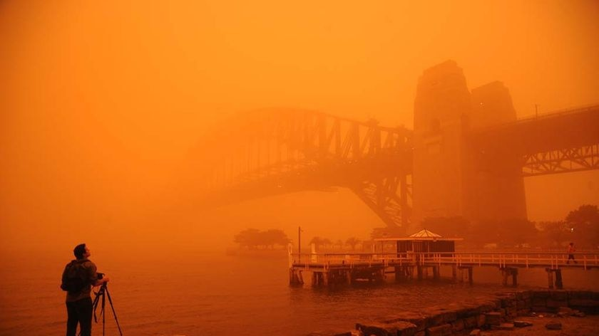 A photographer standing below Sydney Harbour Bridge during a dust storm, with everything coloured orange.