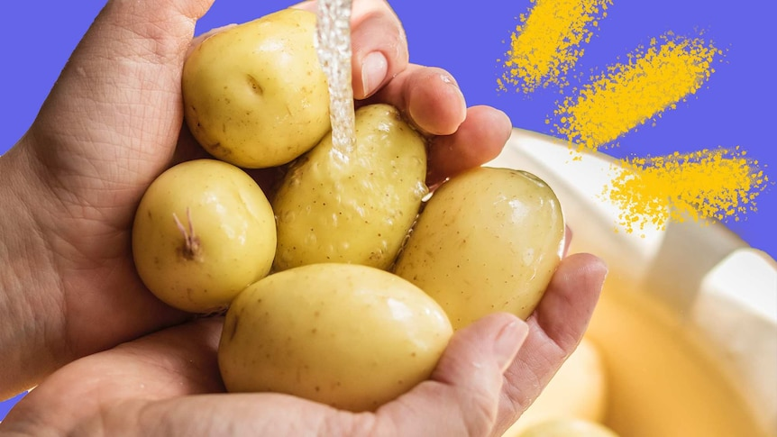 Hands under a running tap holding five potatoes to depict tips for buying and cooking potatoes.