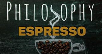 """A logo with the words """"Philosophy Espresso"""" and a chalk drawn coffee cup filled with coffee beans."""