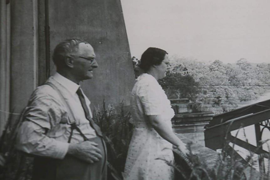 Morton Green and his wife on the balcony of the Indooroopilly apartment.