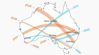 A map of Australia shows the dates for upcoming solar eclipses and where they will pass through.