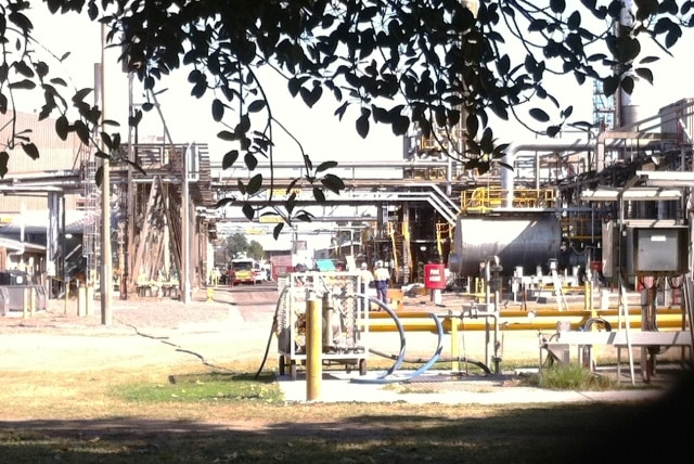 A close-up of the Orica facility with emergency services in attendance.