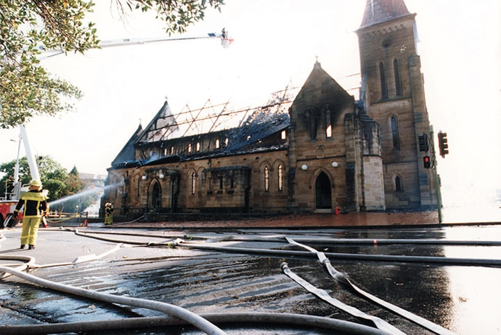 Firefighters put out flames at St Patrick's Cathedral in Parramatta in 1996