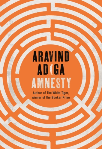 The book cover of Amnesty by Aravind Adiga featuring a orange background with a white circular maze