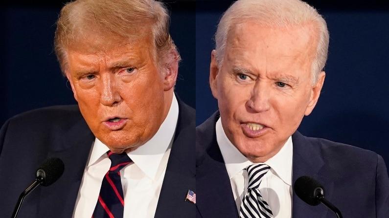 A composite image of Donald Trump and Joe Biden.