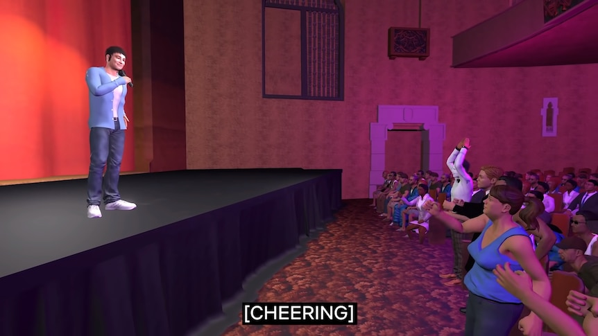 Animated avatar of a man speaks to a cheering, animated crowd at a comedy show.