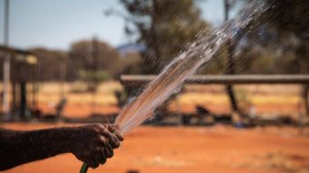 A hand holds a hose spraying water in the desert.