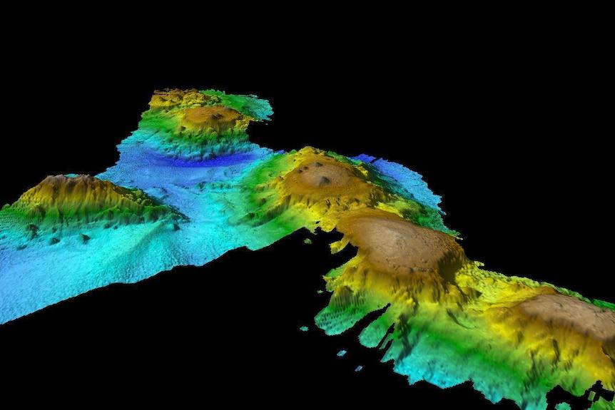 graphic image showing seamounts off the Tasmanian coastline