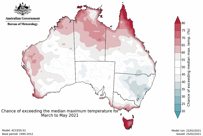 Map of Aus mainly white but red for the coasts and for Tas