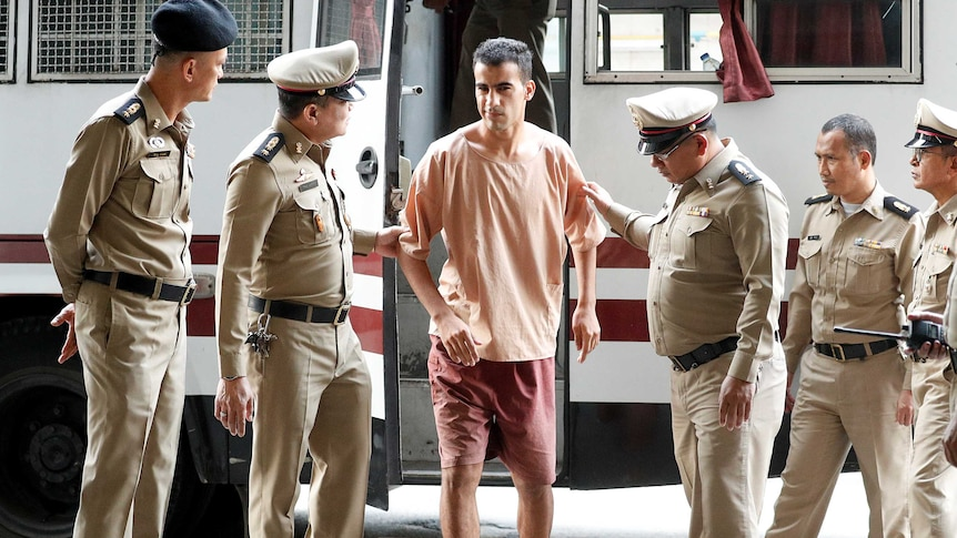 Hakeem al-Araibi arrives at Thailand's Criminal Court to submit his evidence to fight his extradition.