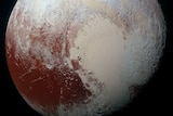 Pluto is seen in enhanced colour in this image captured by New Horizons in July.