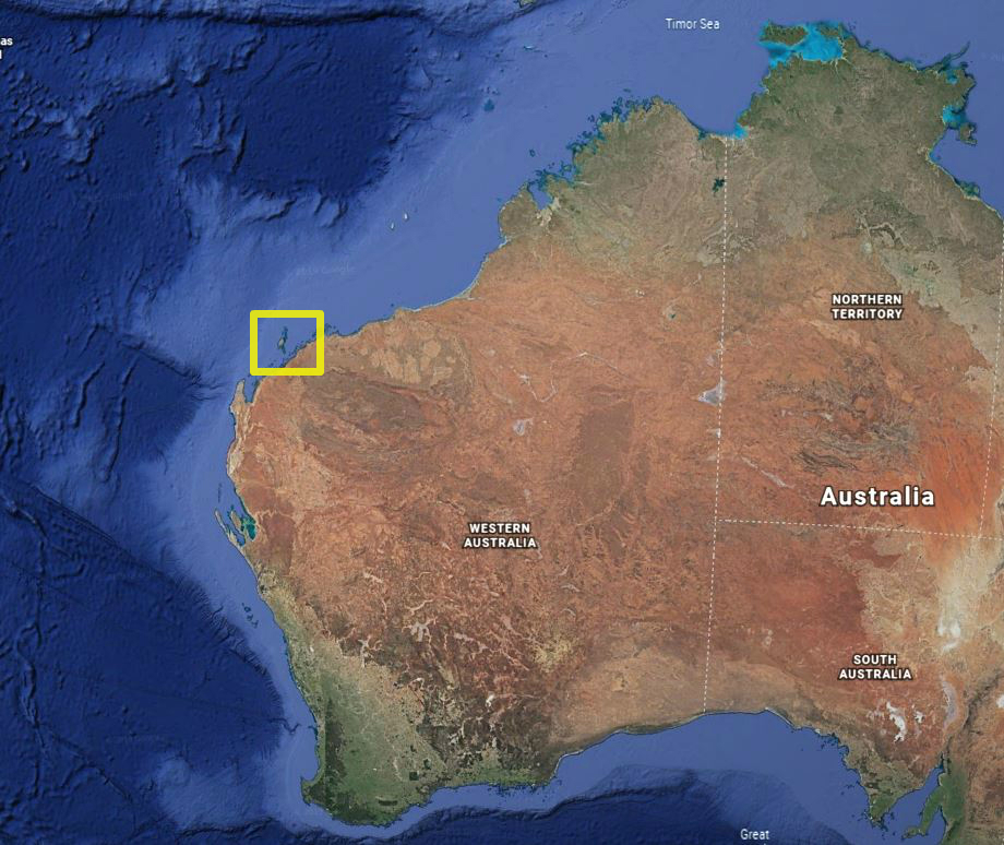 A map of Australia showing the location of Barrow Island off WA.